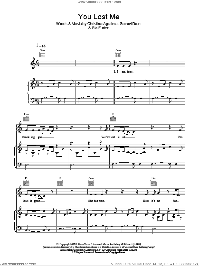 You Lost Me sheet music for voice, piano or guitar by Sia Furler