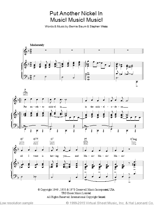 Music! Music! Music! (Put Another Nickel In) sheet music for voice, piano or guitar by Stephen Weiss