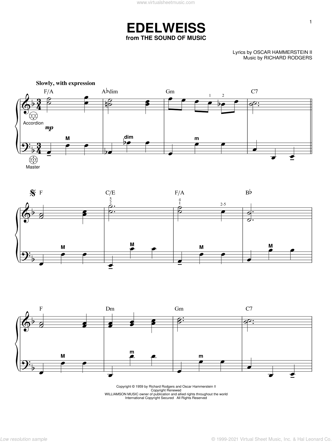 Edelweiss sheet music for accordion by Rodgers & Hammerstein, The Sound Of Music (Musical), Oscar II Hammerstein and Richard Rodgers, intermediate skill level