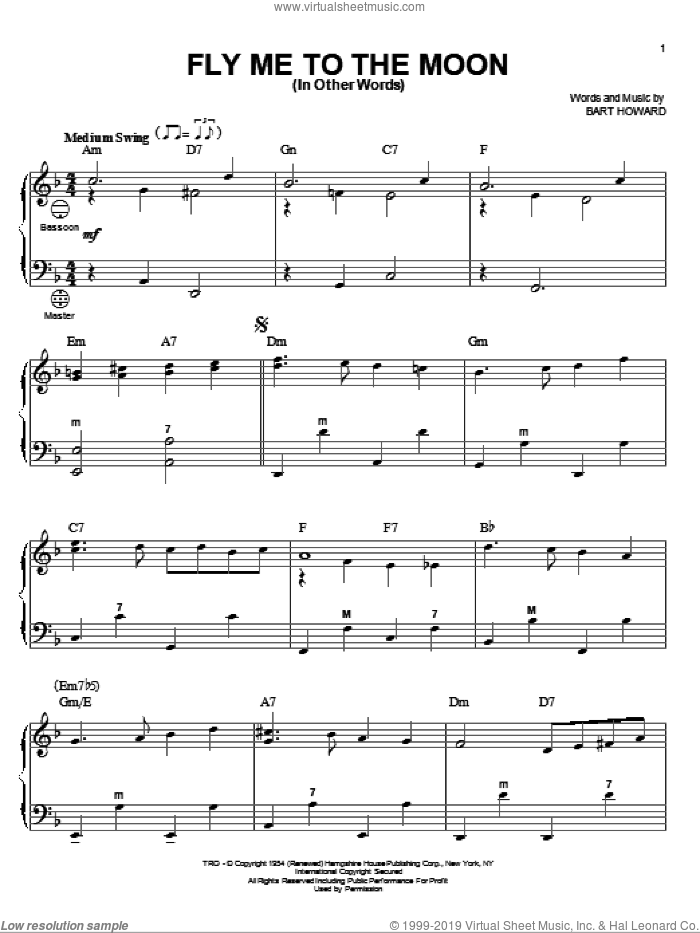 Fly Me To The Moon (In Other Words) sheet music for accordion by Bart Howard
