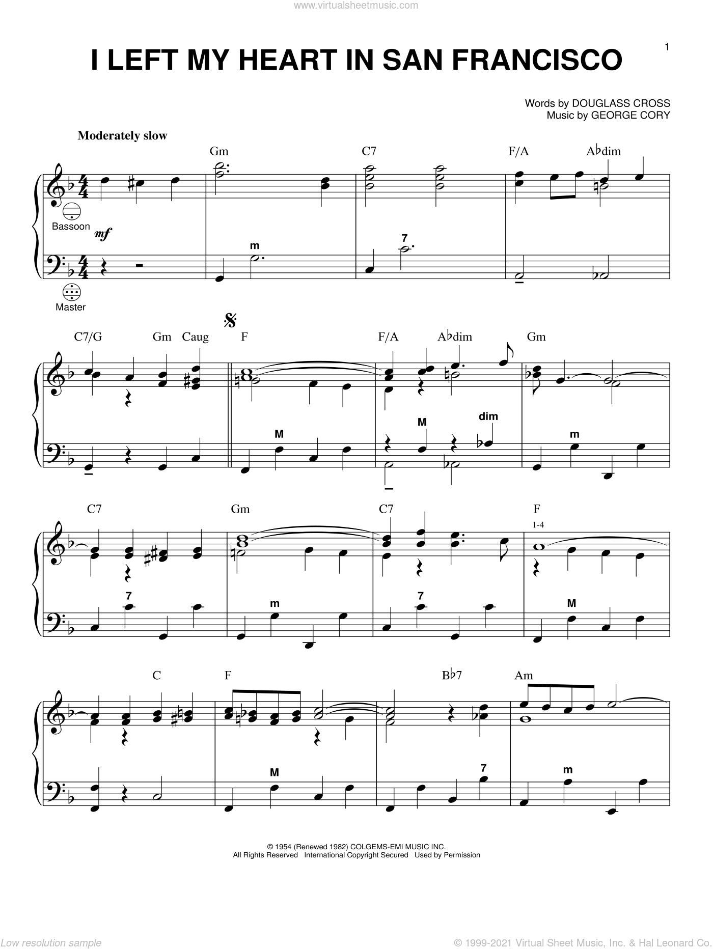 I Left My Heart In San Francisco sheet music for accordion by George Cory