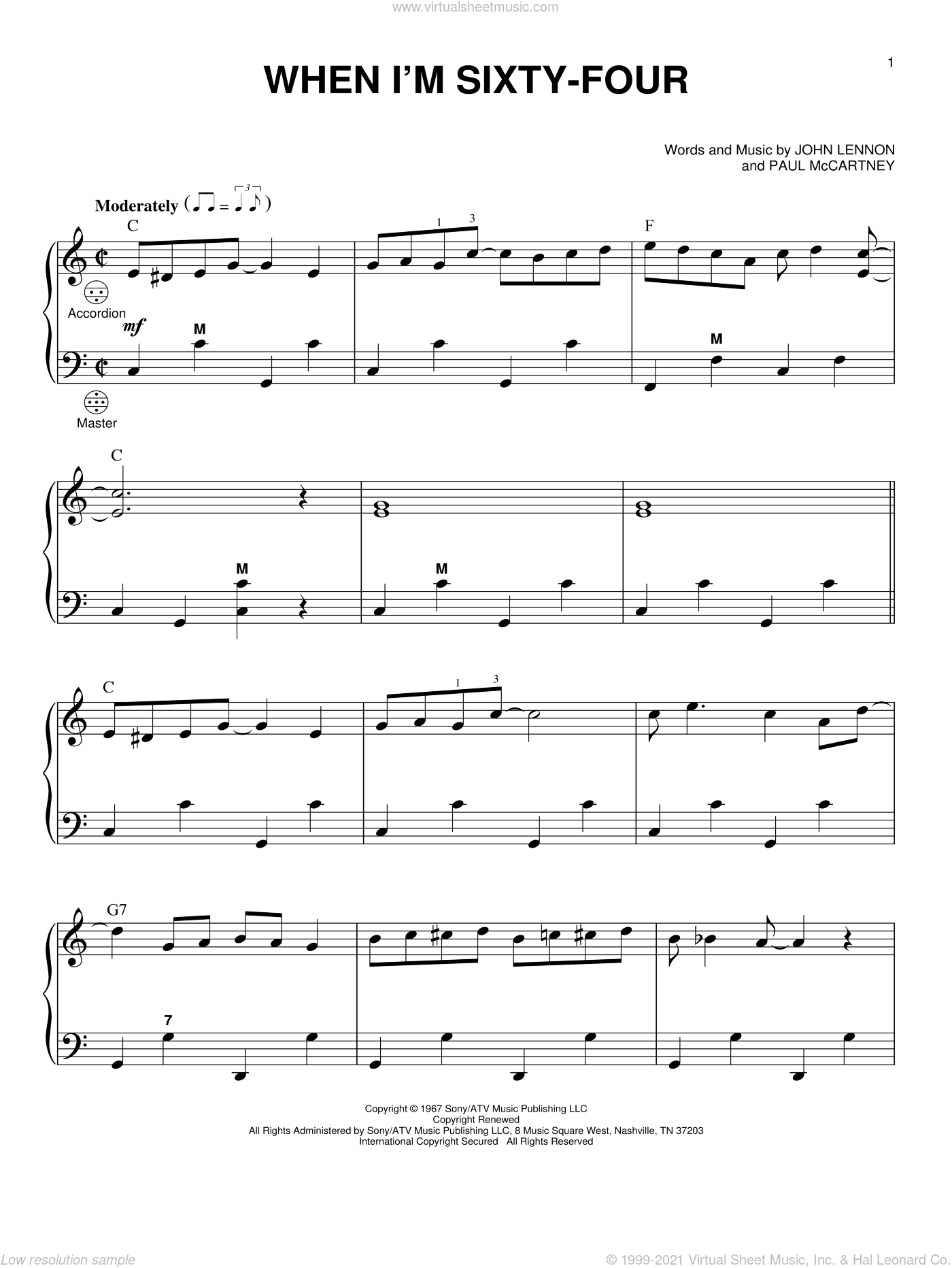 When I'm Sixty-Four sheet music for accordion by Paul McCartney, The Beatles and John Lennon