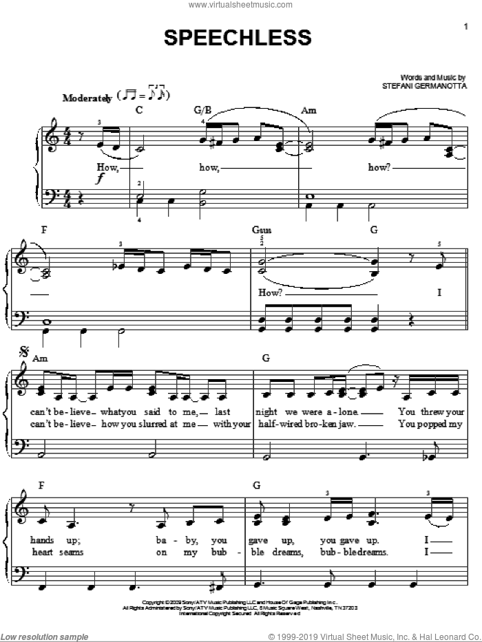 Speechless sheet music for piano solo by Lady GaGa, easy