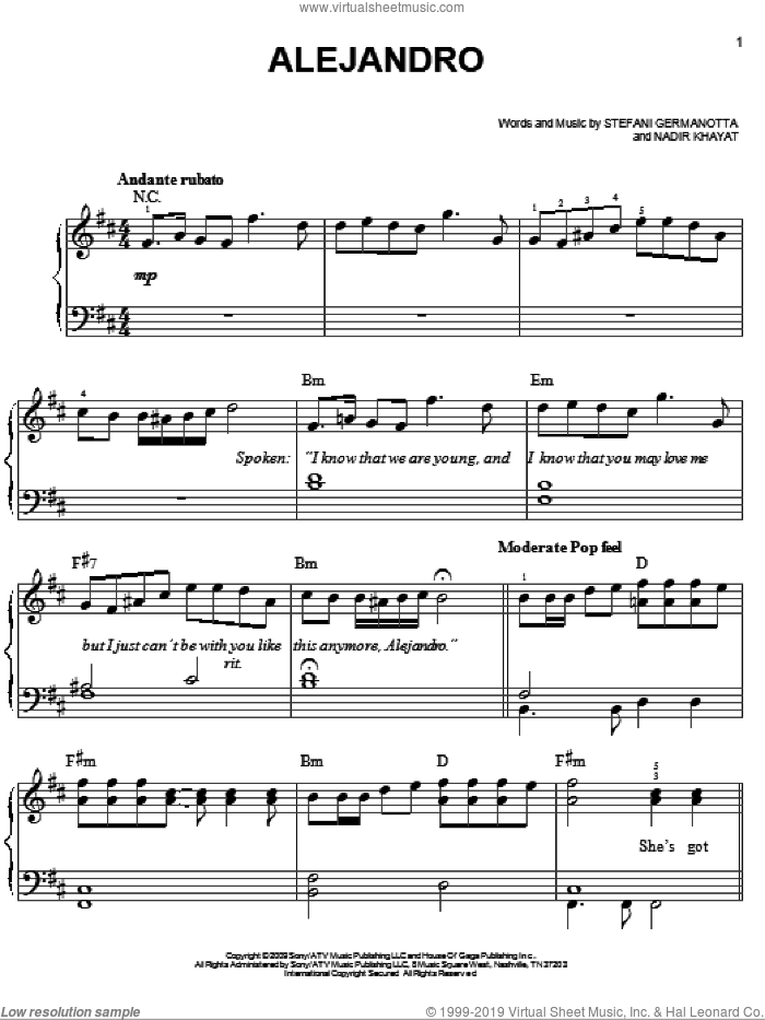 Alejandro sheet music for piano solo by Lady GaGa and Nadir Khayat, easy skill level