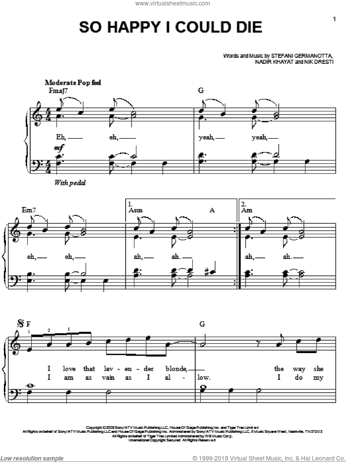 So Happy I Could Die sheet music for piano solo (chords) by Lady Gaga