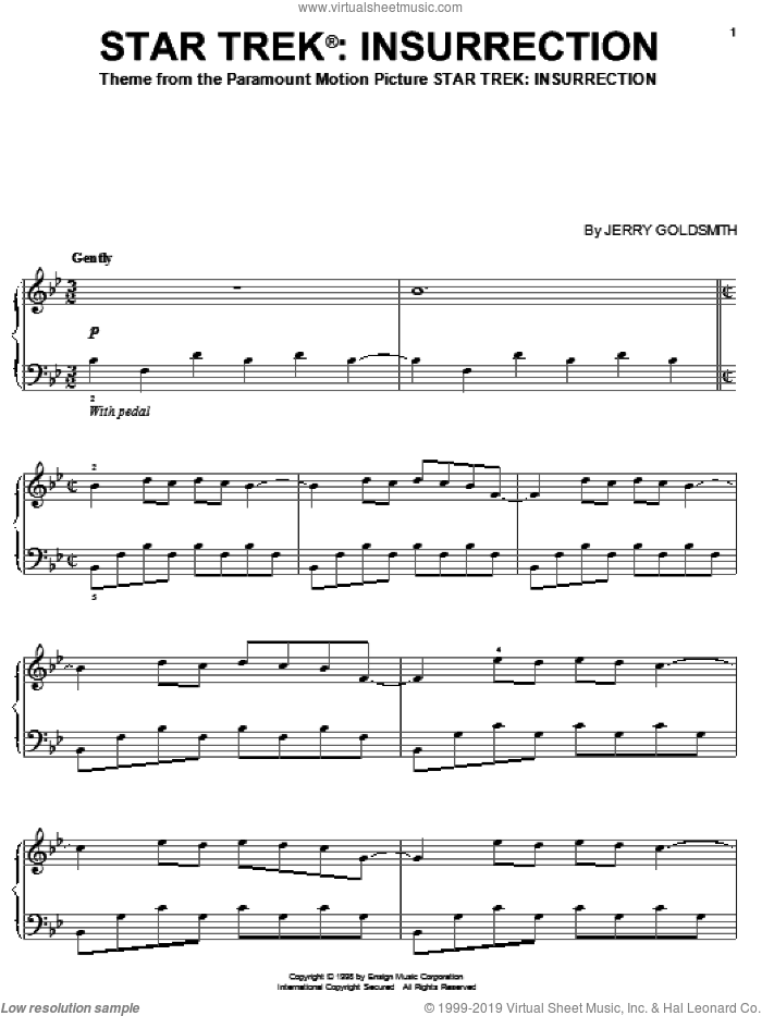 Star Trek(R) Insurrection sheet music for piano solo by Jerry Goldsmith. Score Image Preview.