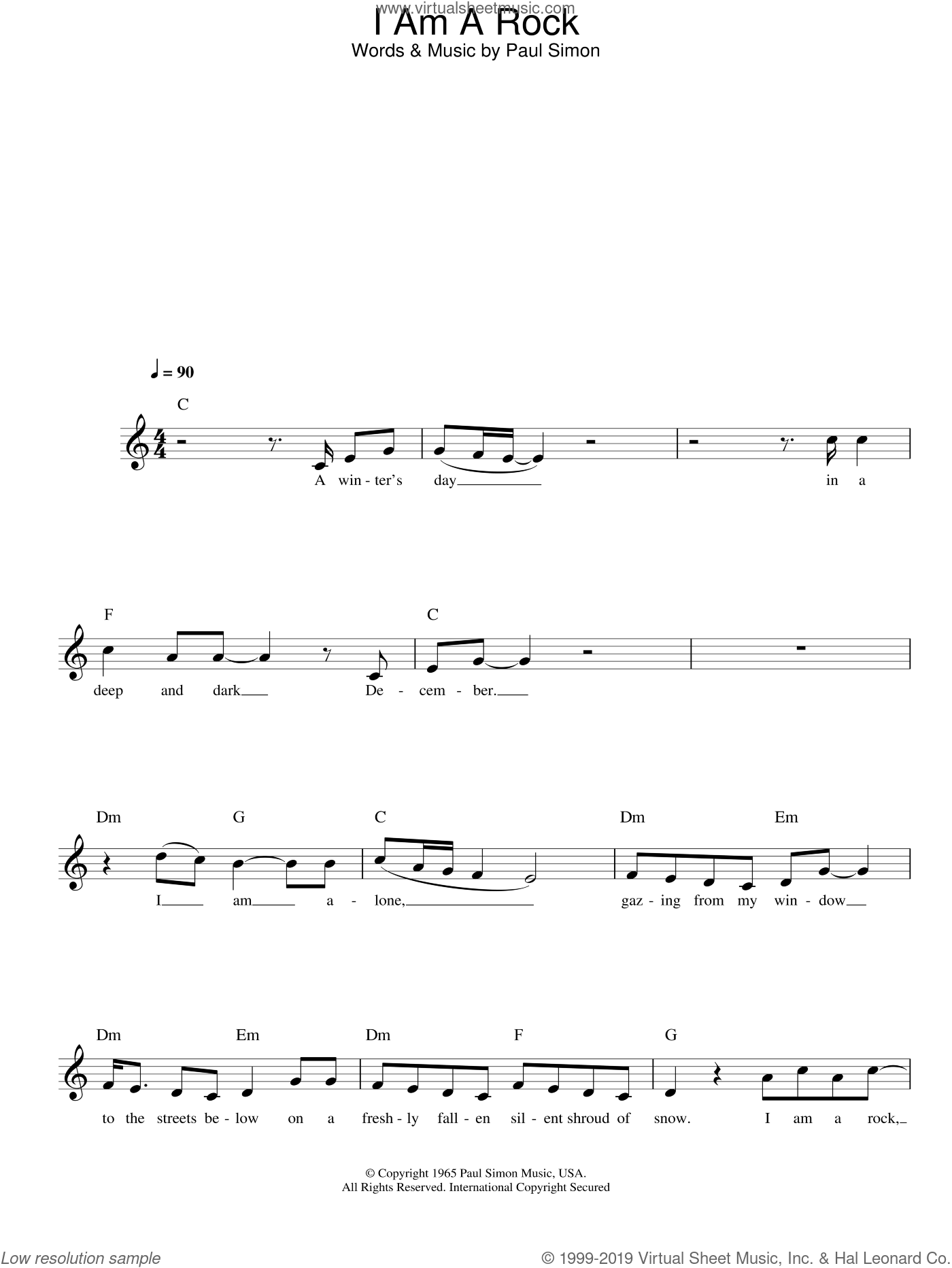 I Am A Rock sheet music for voice and other instruments (fake book) by Simon & Garfunkel and Paul Simon, intermediate skill level