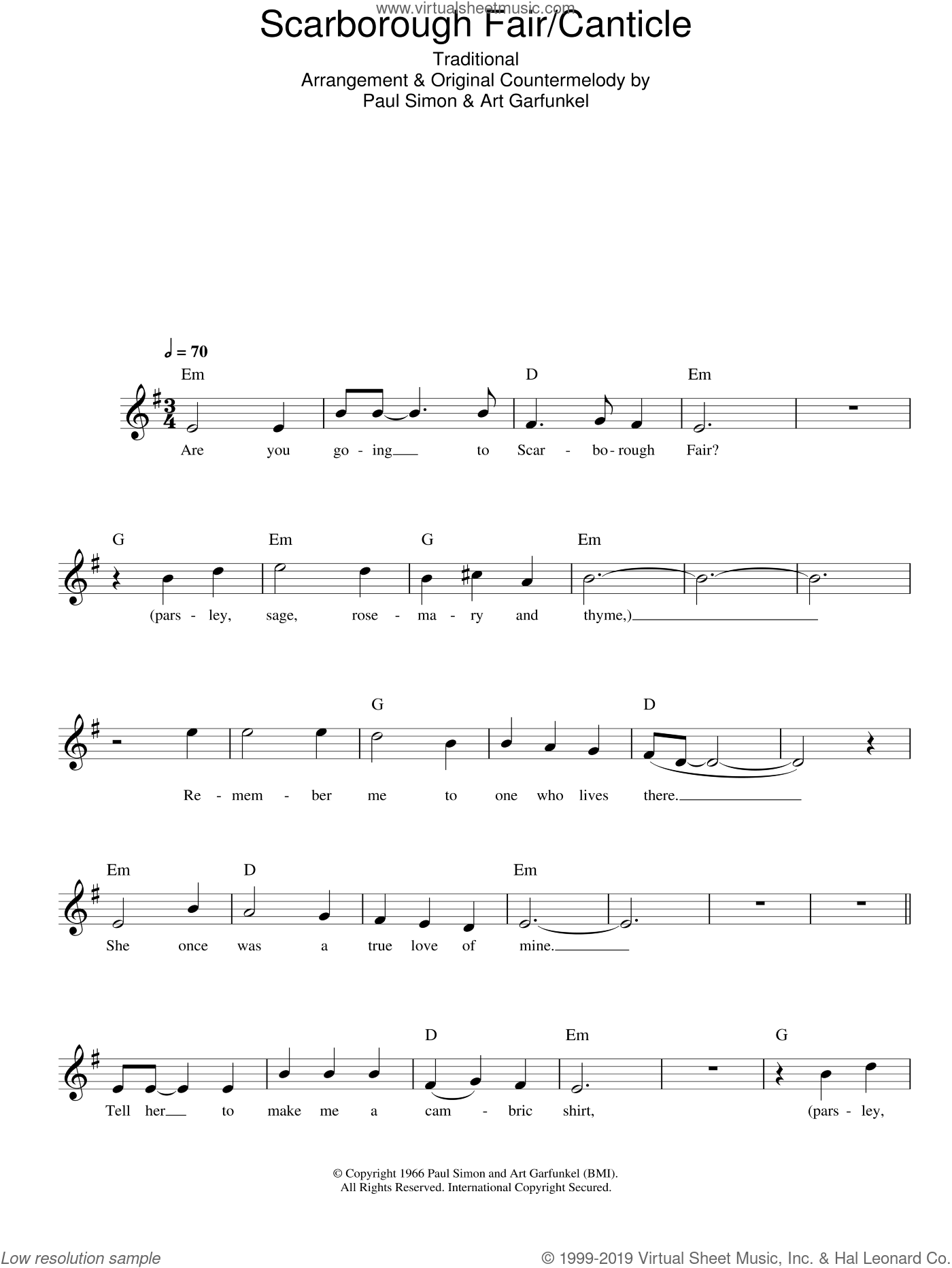 Garfunkel - Scarborough Fair / Canticle sheet music for voice and ...