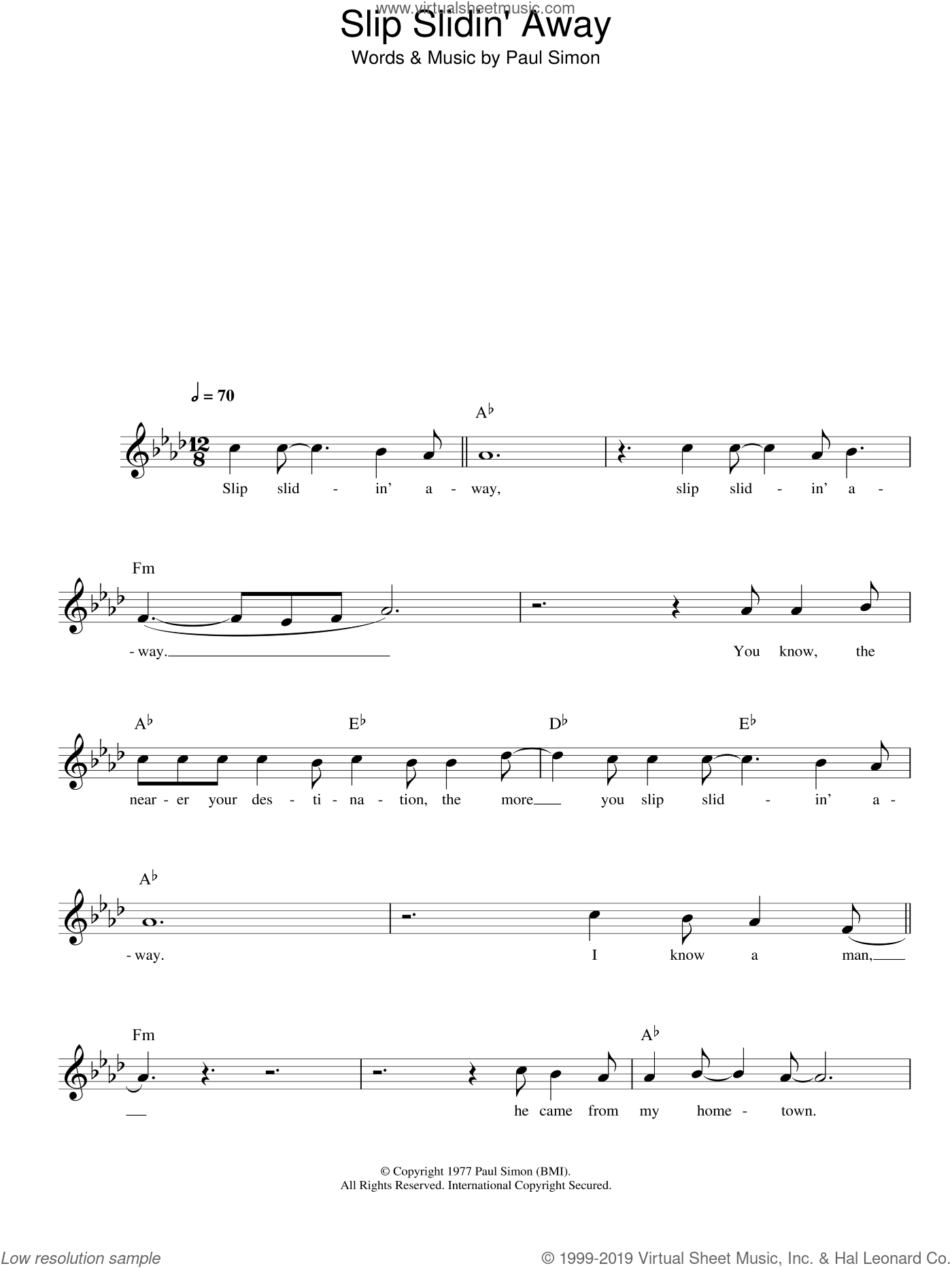 Slip Slidin' Away sheet music for voice and other instruments (fake book) by Paul Simon, intermediate skill level