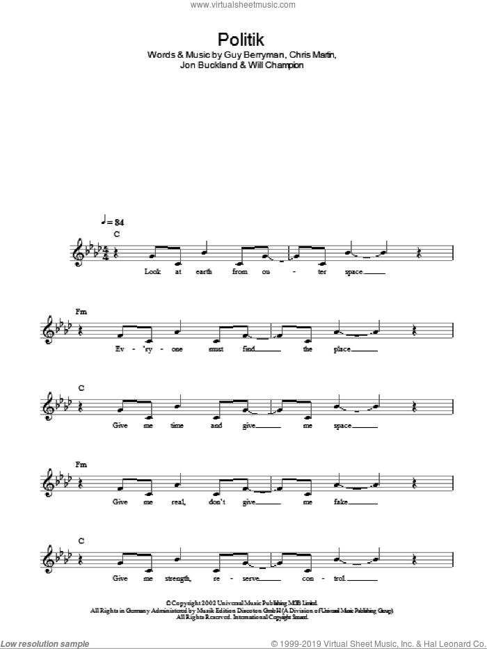 Politik sheet music for voice and other instruments (fake book) by Will Champion, Coldplay, Chris Martin, Guy Berryman and Jon Buckland. Score Image Preview.