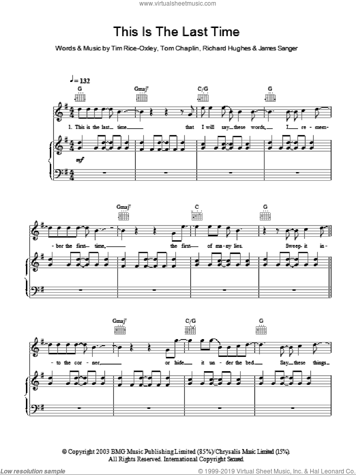 This Is The Last Time sheet music for voice, piano or guitar by Tim Rice-Oxley, James Sanger, Richard Hughes and Tom Chaplin, intermediate skill level