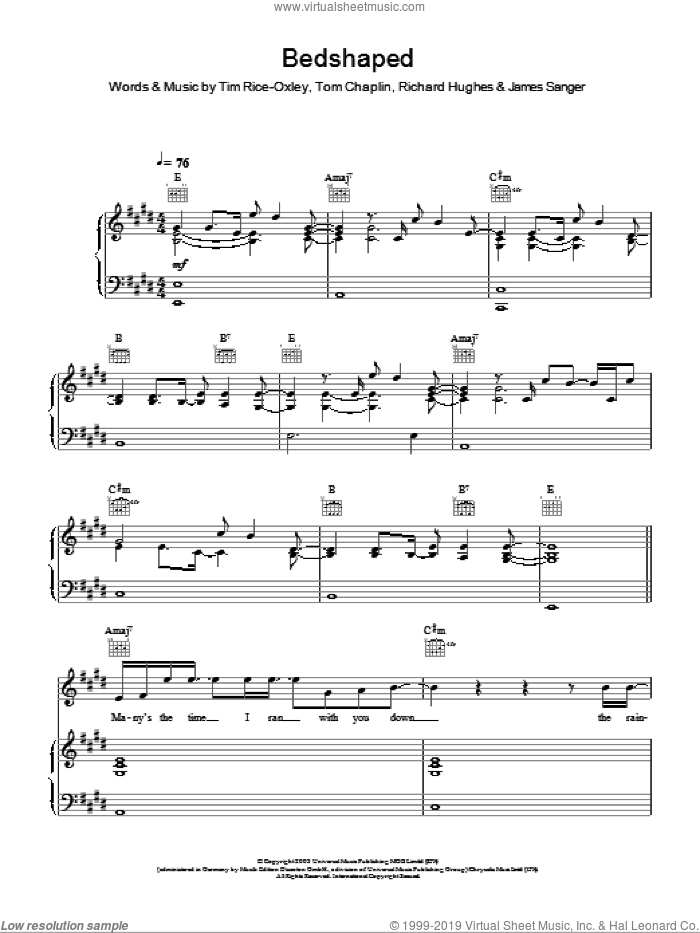 Bedshaped sheet music for voice, piano or guitar by Tom Chaplin