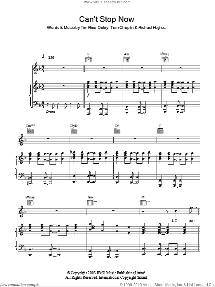 Can't Stop Now sheet music for voice, piano or guitar by Tim Rice-Oxley. Score Image Preview.