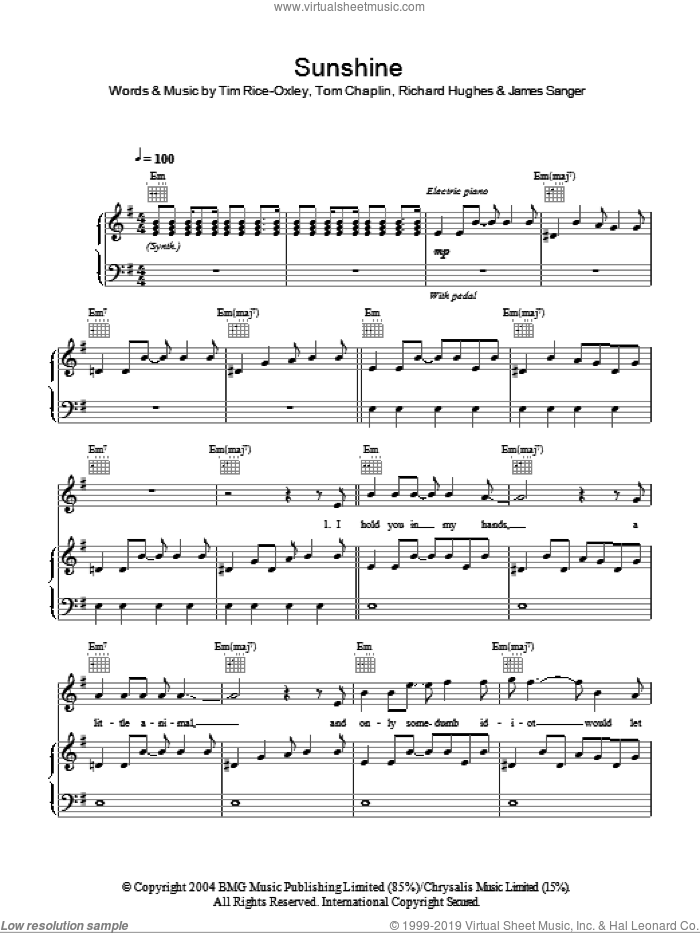Sunshine sheet music for voice, piano or guitar by Tom Chaplin, Richard Hughes and Tim Rice-Oxley. Score Image Preview.
