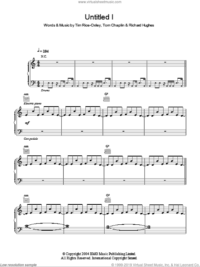 Untitled I sheet music for voice, piano or guitar by Tim Rice-Oxley, intermediate. Score Image Preview.
