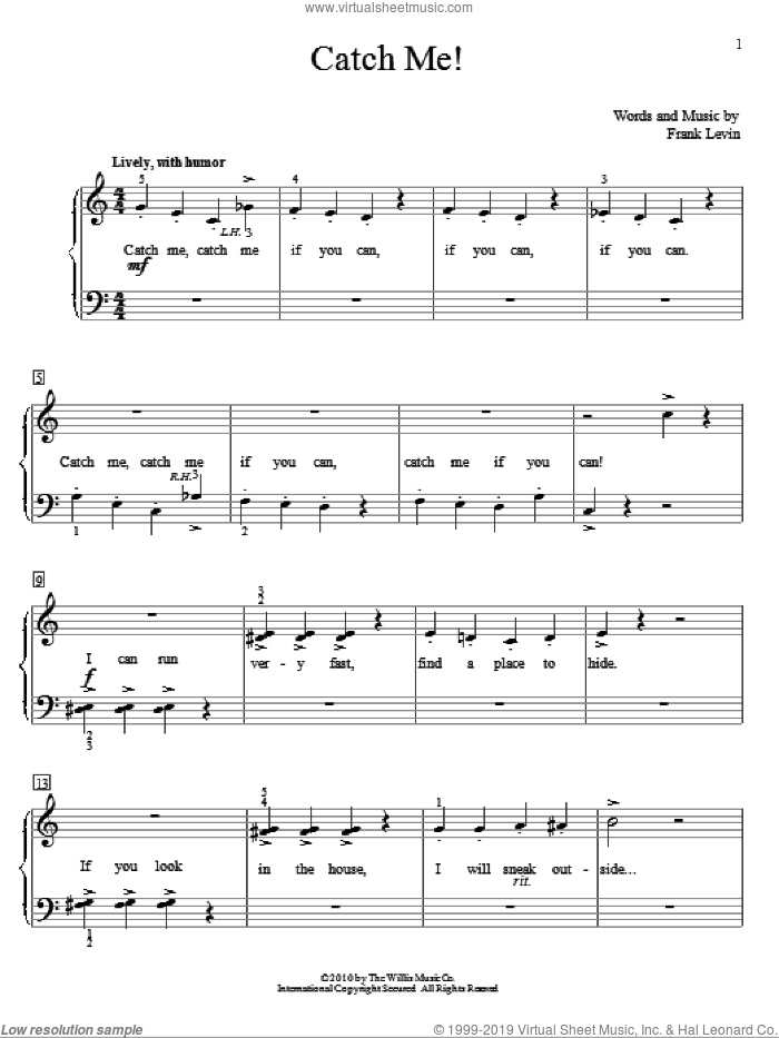 Catch Me! sheet music for piano solo (elementary) by Frank Levin, beginner piano (elementary). Score Image Preview.