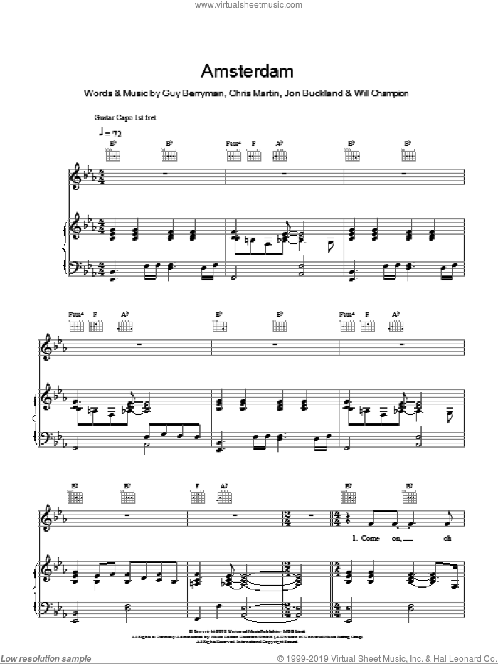 Amsterdam sheet music for voice, piano or guitar by Will Champion