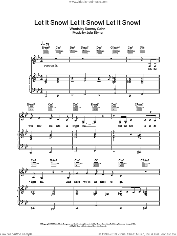 Let It Snow! Let It Snow! Let It Snow! sheet music for voice, piano or guitar by Doris Day, Jule Styne and Sammy Cahn, intermediate skill level