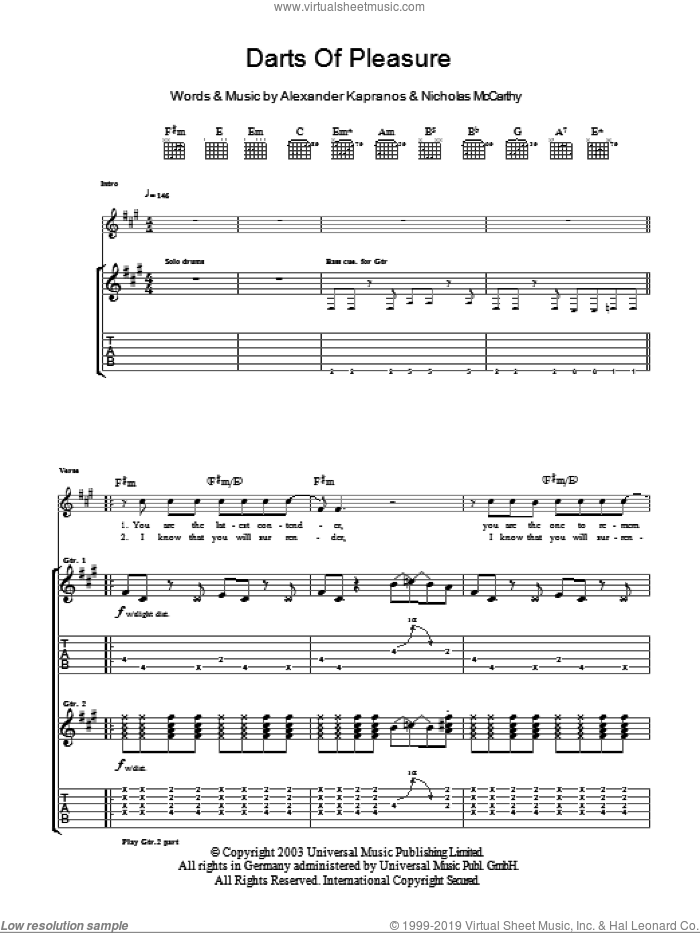 Darts Of Pleasure sheet music for guitar (tablature) by Franz Ferdinand. Score Image Preview.