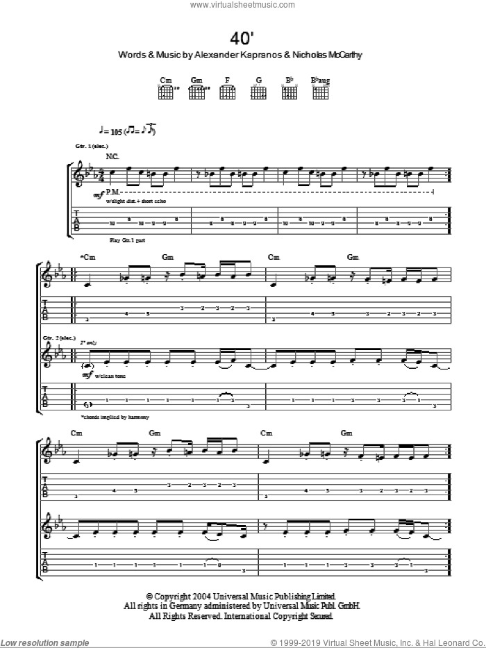40' sheet music for guitar (tablature) by Nicholas McCarthy