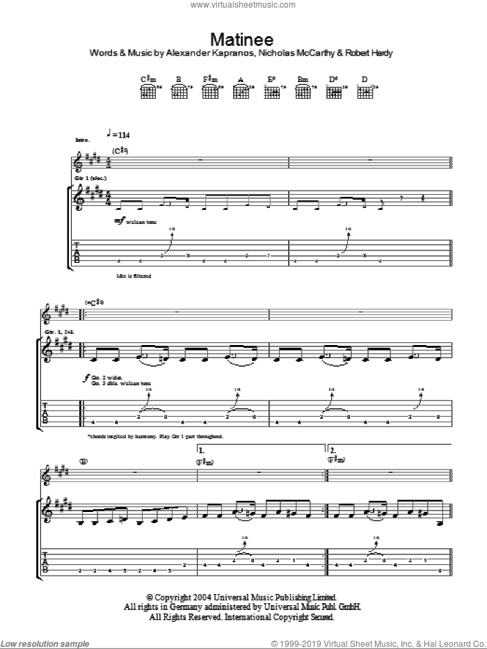 Matinee sheet music for guitar (tablature) by Franz Ferdinand, intermediate. Score Image Preview.