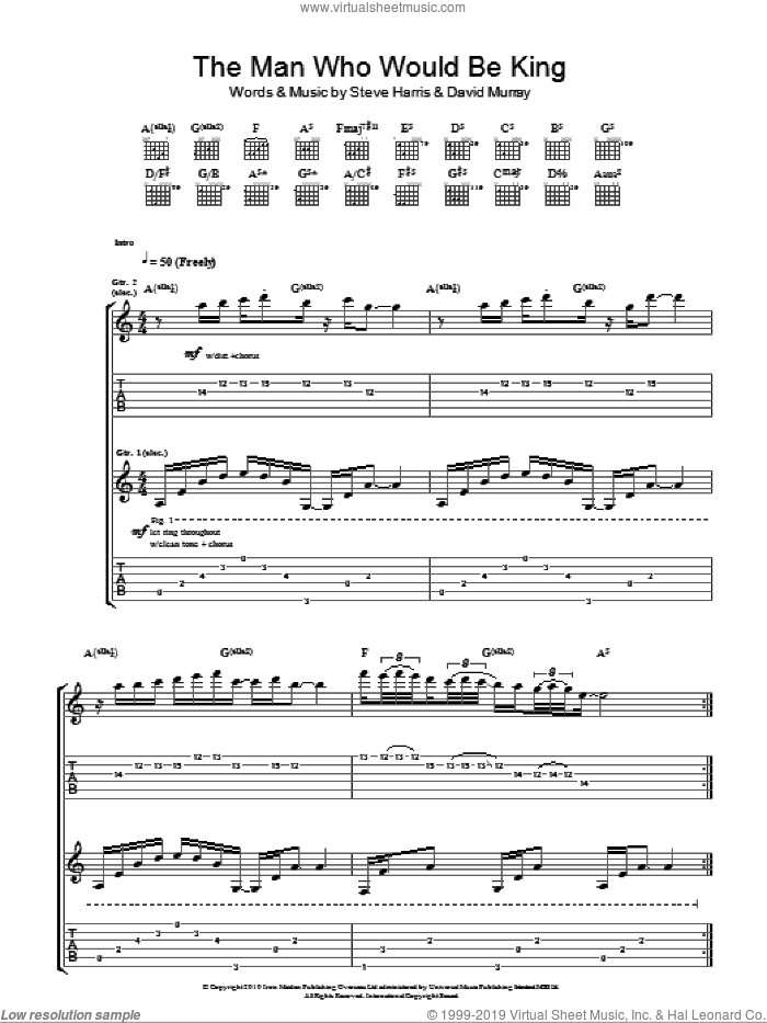 The Man Who Would Be King sheet music for guitar (tablature) by Iron Maiden, David Murray and Steve Harris, intermediate skill level