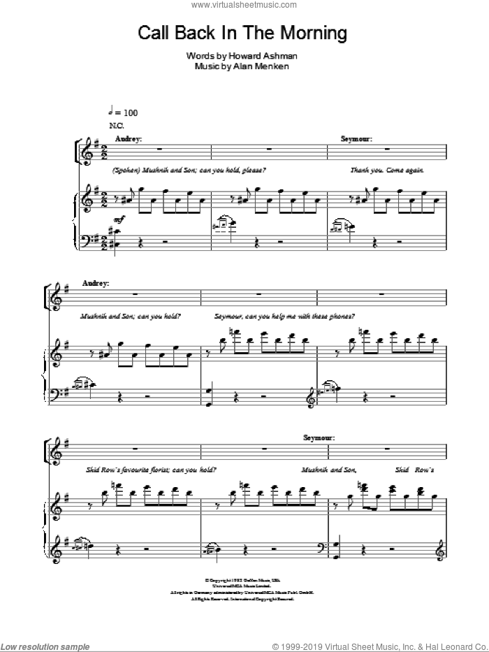 Call Back In The Morning sheet music for voice, piano or guitar by Howard Ashman and Alan Menken, intermediate. Score Image Preview.