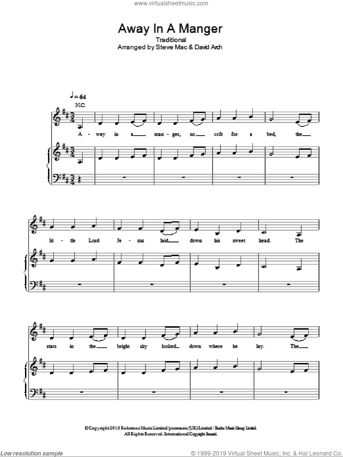 Away In A Manger sheet music for voice, piano or guitar by Susan Boyle and Miscellaneous, intermediate skill level