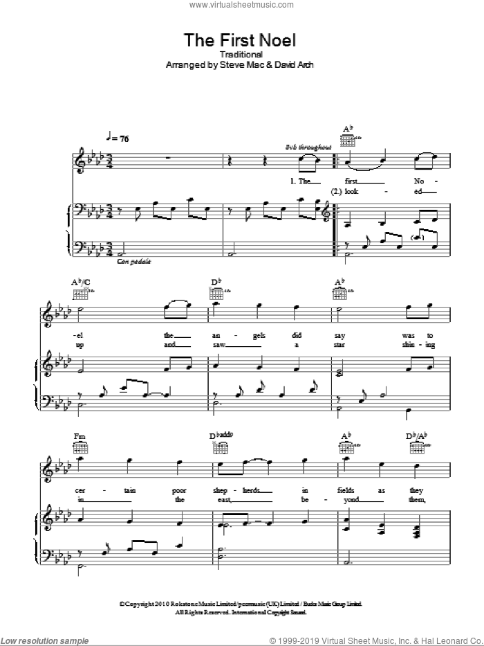 The First Noel sheet music for voice, piano or guitar by Susan Boyle and Miscellaneous, intermediate skill level