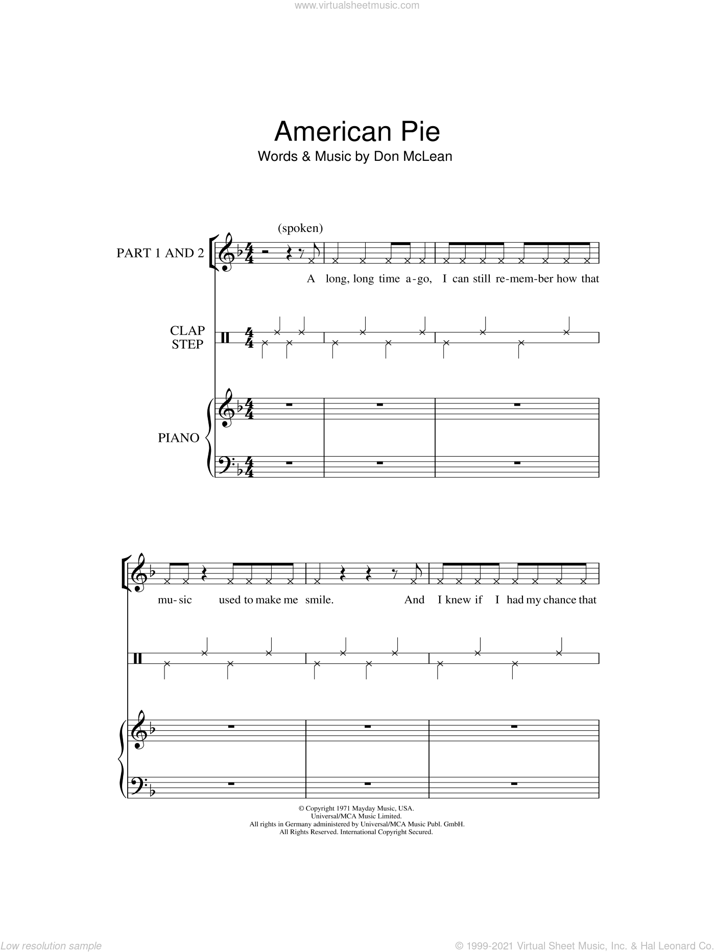 American Pie sheet music for choir (2-Part) by Don McLean, intermediate duet. Score Image Preview.