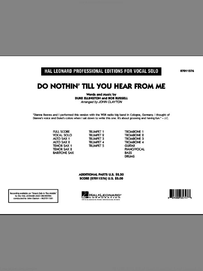 Do Nothin' Till You Hear From Me (COMPLETE) sheet music for jazz band by Duke Ellington, Bob Russell and John Clayton, intermediate skill level