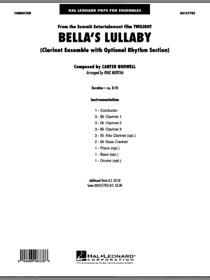 Bella's Lullaby (Clarinet Ensemble with Opt. Rhythm Section) (COMPLETE) sheet music for concert band by Carter Burwell and Paul Murtha, intermediate skill level