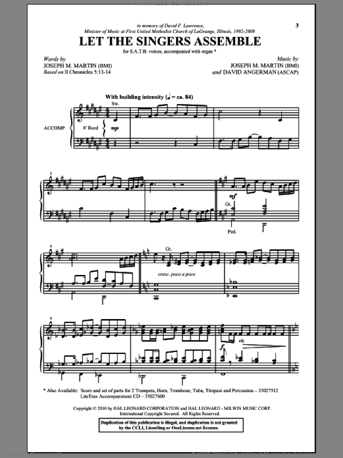 Let The Singers Assemble sheet music for choir (SATB) by David Angerman and Joseph M. Martin. Score Image Preview.