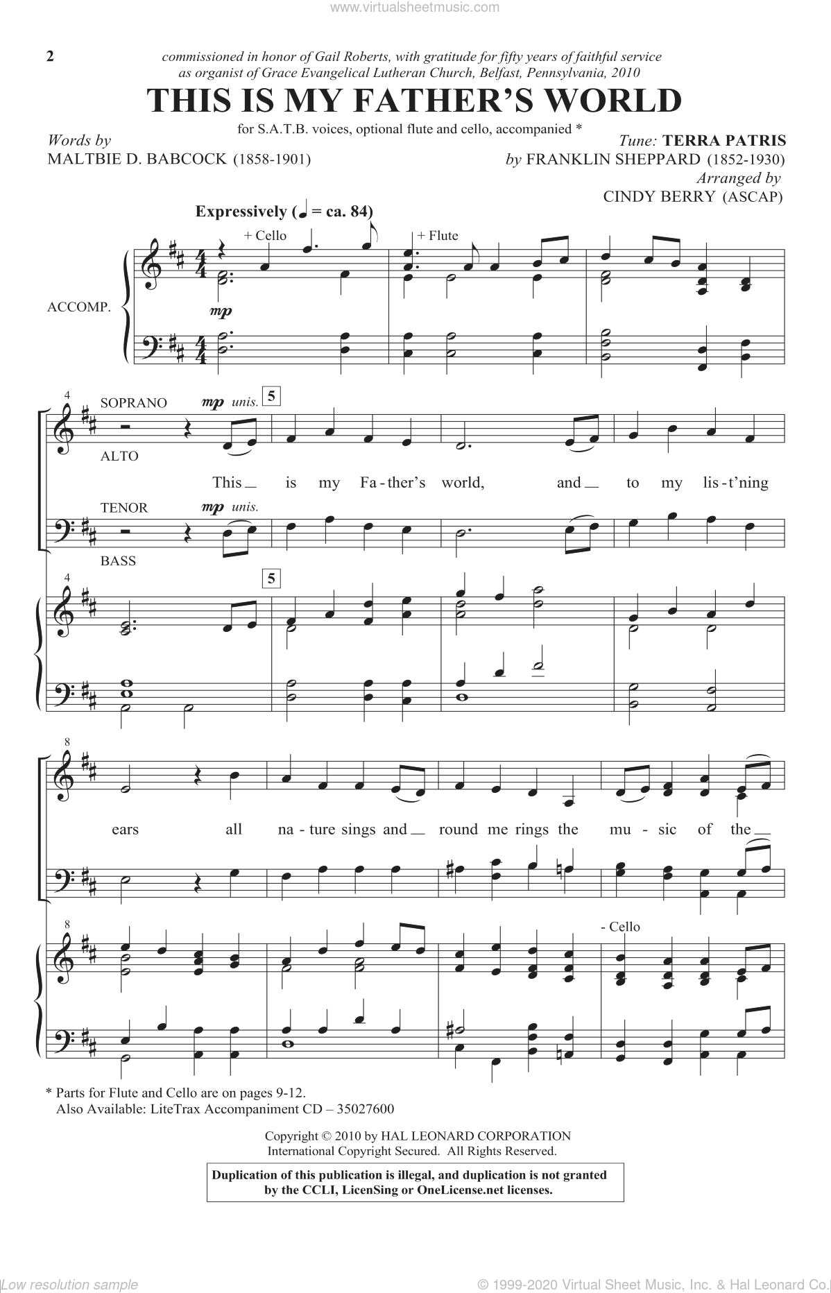 This Is My Father's World sheet music for choir and piano (SATB) by Franklin L. Sheppard