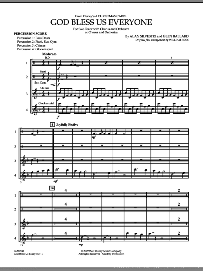 God Bless Us Everyone sheet music for full orchestra (percussion score) by Glen Ballard