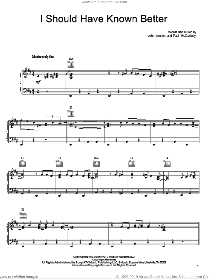 I Should Have Known Better sheet music for voice, piano or guitar by She & Him, The Beatles, John Lennon and Paul McCartney. Score Image Preview.