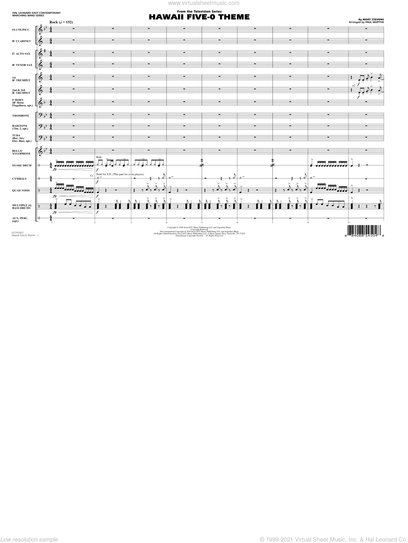 Hawaii Five-O Theme sheet music for marching band (full score) by Mort Stevens
