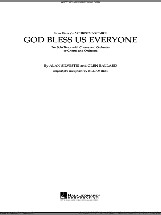 God Bless Us Everyone (COMPLETE) sheet music for full orchestra by Glen Ballard
