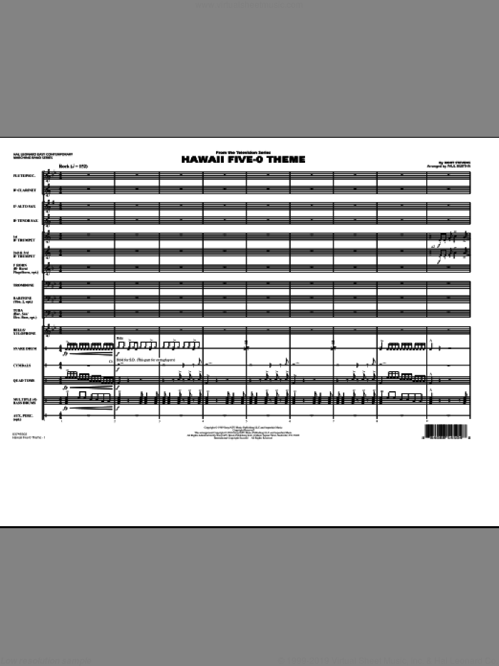 Hawaii Five-O Theme (COMPLETE) sheet music for marching band by Paul Murtha and Mort Stevens, intermediate skill level