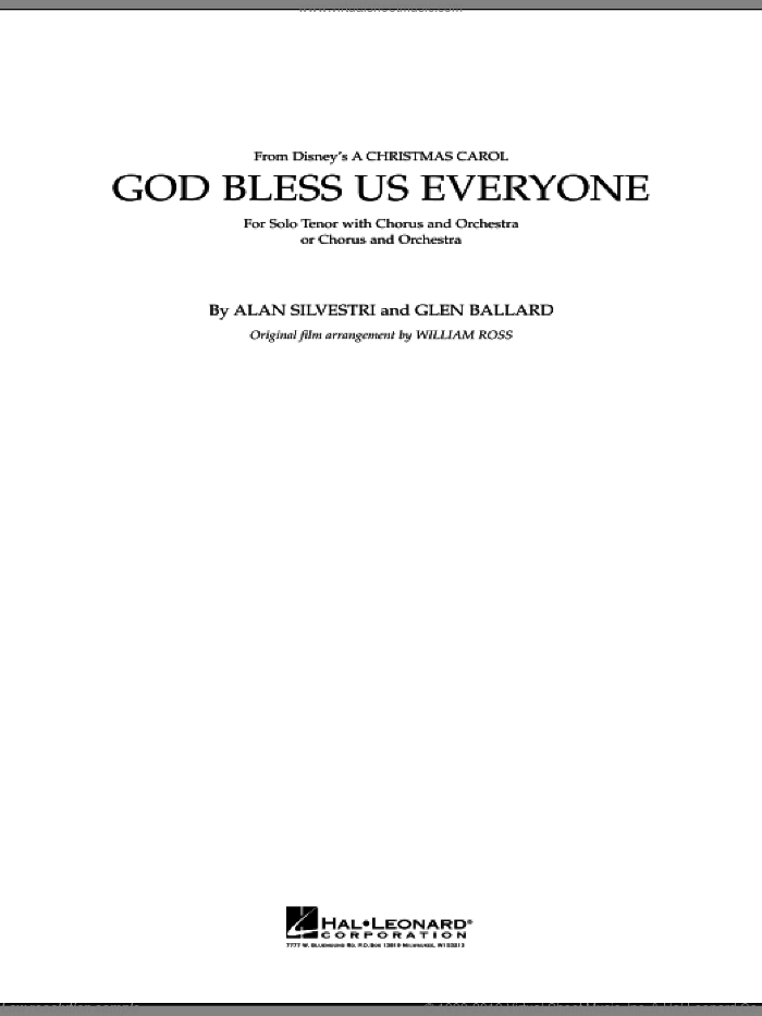 God Bless Us Everyone (COMPLETE) sheet music for full orchestra by Glen Ballard, Alan Silvestri and Andrea Bocelli, Christmas carol score, intermediate full orchestra. Score Image Preview.
