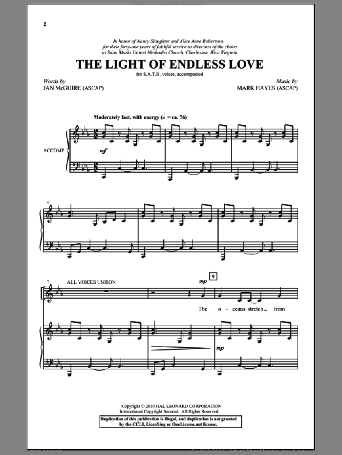 The Light Of Endless Love sheet music for choir (SATB) by Mark Hayes and Jan McGuire. Score Image Preview.