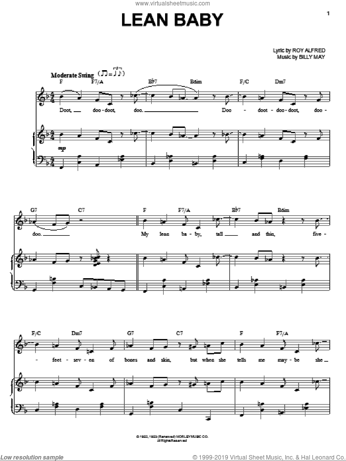 Lean Baby sheet music for voice and piano by Frank Sinatra, Come Fly Away (Musical), Billy May and Roy Alfred, intermediate skill level