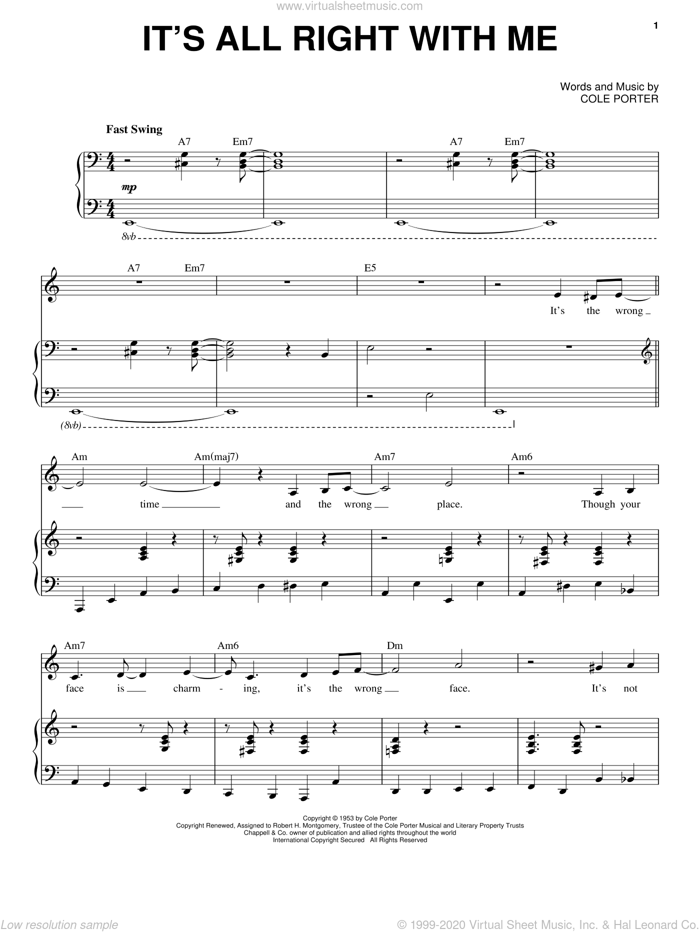 It's All Right With Me sheet music for voice and piano by Frank Sinatra, Come Fly Away (Musical) and Cole Porter, intermediate skill level