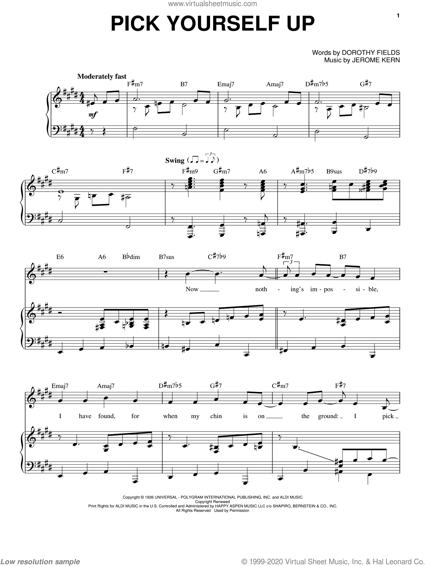 Pick Yourself Up sheet music for voice and piano by Frank Sinatra, Come Fly Away (Musical), Dorothy Fields and Jerome Kern, intermediate skill level