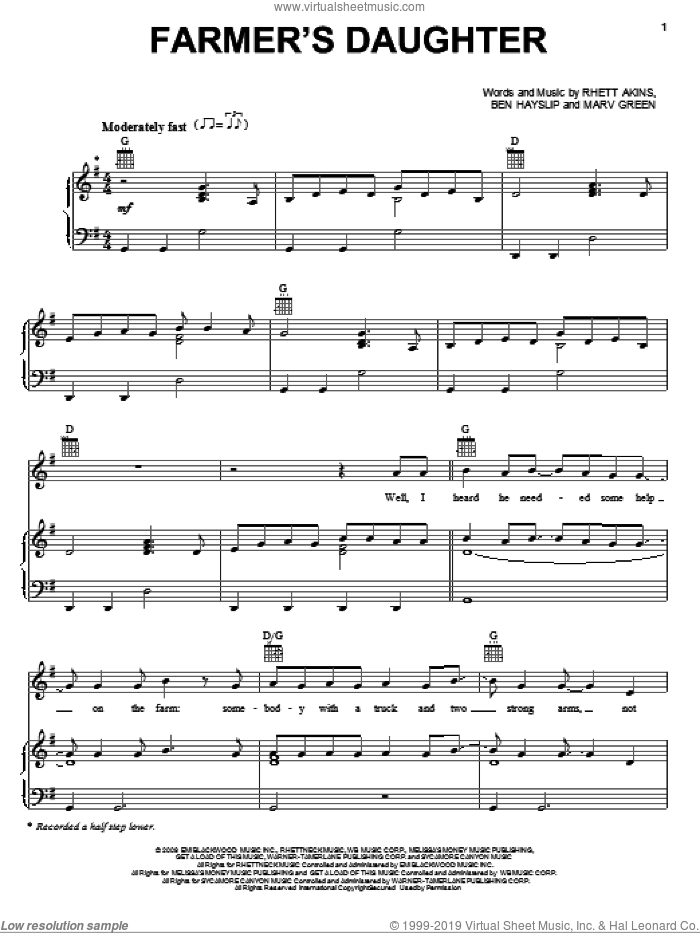 Farmer's Daughter sheet music for voice, piano or guitar by Rhett Akins, Rodney Atkins, Ben Hayslip and Marv Green. Score Image Preview.