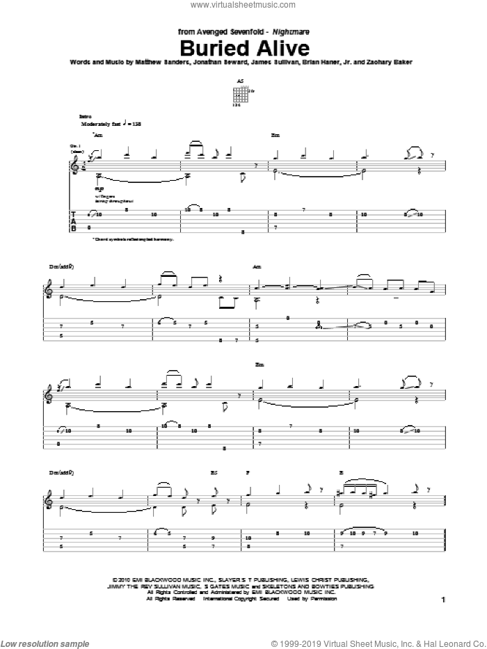 Buried Alive sheet music for guitar (tablature) by Avenged Sevenfold, Brian Haner, Jr., James Sullivan, Jonathan Seward, Matthew Sanders and Zachary Baker, intermediate