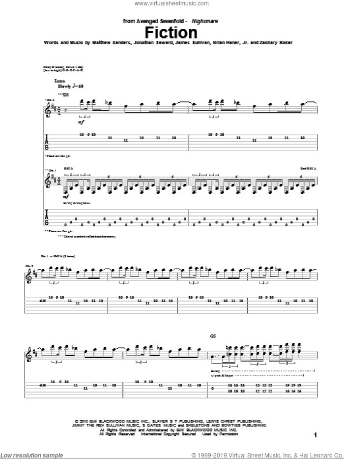 Fiction sheet music for guitar (tablature) by Avenged Sevenfold. Score Image Preview.