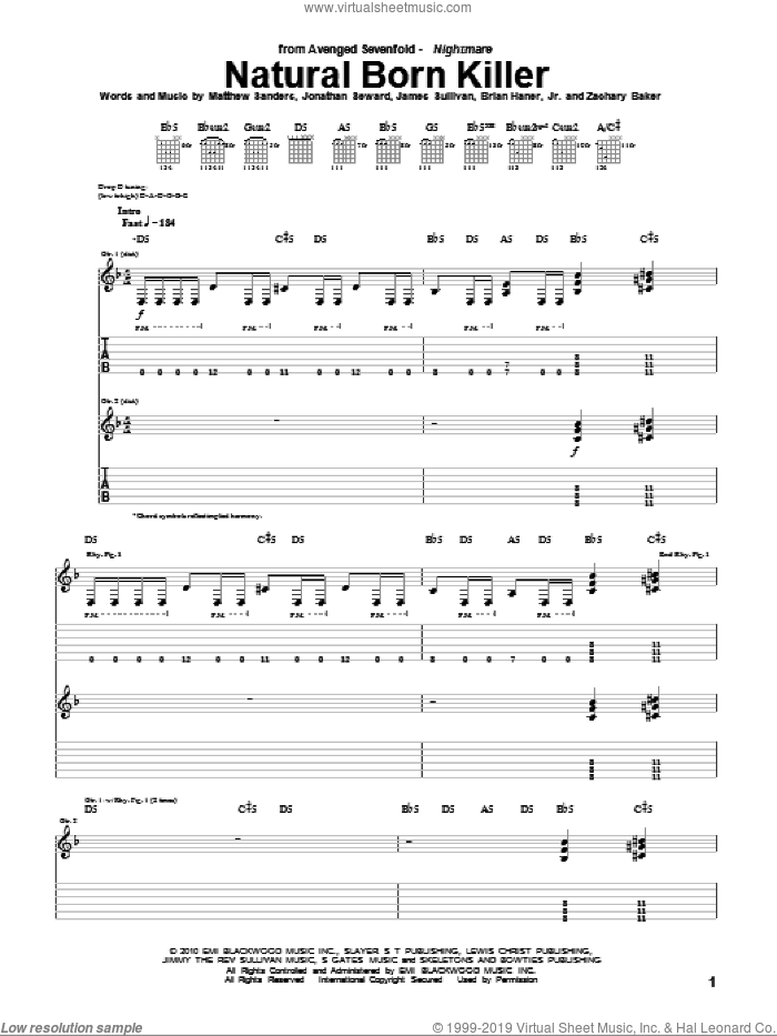 Natural Born Killer sheet music for guitar (tablature) by Zachary Baker and Avenged Sevenfold. Score Image Preview.