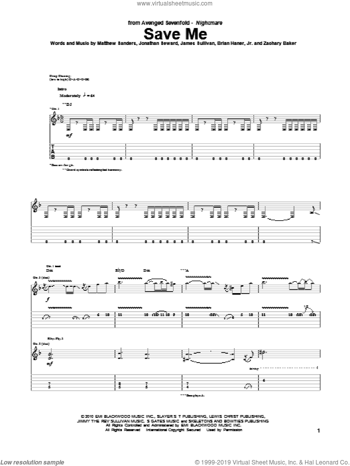 Save Me sheet music for guitar (tablature) by Zachary Baker and Avenged Sevenfold. Score Image Preview.