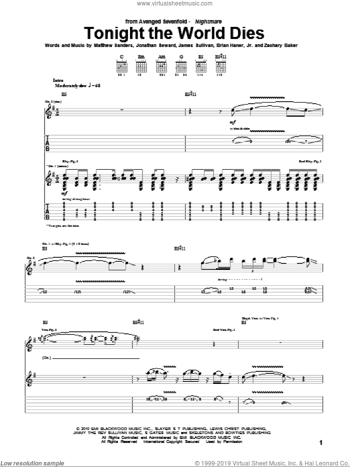 Tonight The World Dies sheet music for guitar (tablature) by Zachary Baker and Avenged Sevenfold. Score Image Preview.